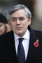 © Licensed to London News Pictures. 12/11/2017. London, UK. Former Prime Minister Gordon Brown walks through Downing Street to attend the Remembrance Sunday Ceremony at the Cenotaph in Whitehall. Photo credit: Peter Macdiarmid/LNP