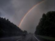German highway in between Frankfurt and Nuernberg during a thunderstorm.