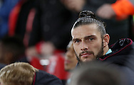 Andy Carroll of West Ham United on the bench during the Premier League match at Anfield Stadium, Liverpool. Picture date: December 11th, 2016.Photo credit should read: Lynne Cameron/Sportimage