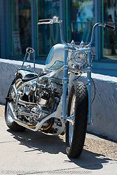 An Indian Larry Motorcycles custom downtown  Daytona during the Daytona Bike Week 75th Anniversary event. FL, USA. Friday March 11, 2016.  Photography ©2016 Michael Lichter.