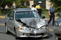 Traffic accident, car wreck. Stock photo