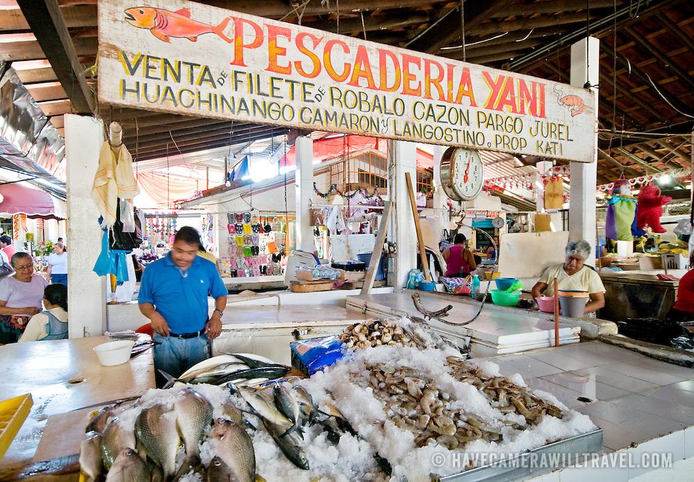 Fish stall at El Mercado (the central market) in Zihuatanejo, Mexico