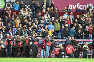 All the photographers camera's watch as Tim Sherwood ® the under pressure Aston Villa manager arrives at the dugout ahead of the match. Barclays Premier league match, Aston Villa v Swansea city at Villa Park in Birmingham, the Midlands on Saturday 24th October 2015.<br /> pic by  Andrew Orchard, Andrew Orchard sports photography.