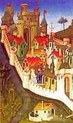 Miniature showing the Palace of the Popes at Avignon. Bibliothèque Nationale. 15th Century  By the master of Boucicaut