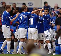 Photo: Paul Greenwood.<br />Everton v Blackburn Rovers. The Barclays Premiership. 10/02/2007. Everton players celebrate Andy Johnsons goal