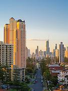 Evening skyline view of Broadbeach, QLD, Australia, near Brisbane and the Gold Coast.