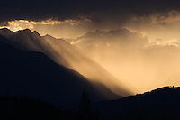 Olympic Mountain Sunset from Nika Trail on the Kitsap Peninsula, Puget Sound, WA