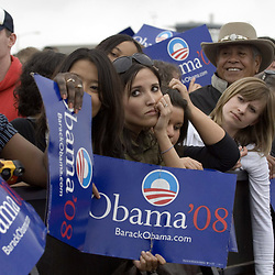 Austin, TX February 23, 2007: Supporters wait for the arrival of U.S. Senator Barack Obama (D-Illinois) at his second major rally after announcing his candidacy for President of the United States last month. Obama spoke through a slight drizzle to a crowd of about 17,000 at Austin's Town Lake.   ©Bob Daemmrich /