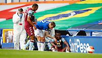Football - 2019 / 2020 Premier League - Everton vs Aston Villa<br /> <br /> Mbwana Samatta of Aston Villa runs into the ad boards at Goodison Park<br /> <br /> COLORSPORT/LYNNE CAMERON