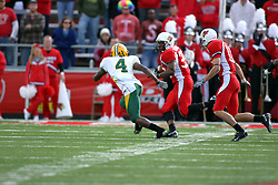 25 October 2008: Nate Agbetola closes in on Walter Mendenhall  in a game which the North Dakota Bison defeated the Illinois State Redbirds at Hancock Stadium on campus of Illinois State University in Normal Illinois