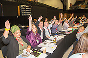 PCS delegates voting at the TUC congress 2016, Brighton. UK.