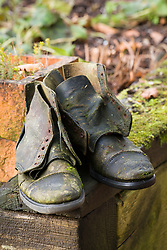 Old gardening boots used as decorative feature