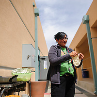 041114  Adron Gardner/Independent<br /> <br /> Malanie Begay, 2013-2014 NTU Student of the Year, prepares fry bread for lunch Navajo Technical University in Crownpoint Friday.