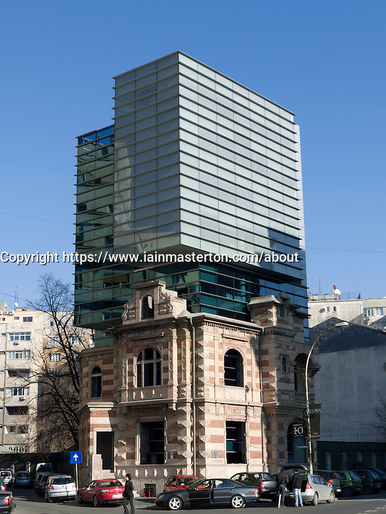 Modern office building built on top of former secret police building in so-called shell building in Revolution Square in Bucharest Romania