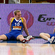 Lotos Gdynia's Adrijana KNEZEVIC (L) and Magdalena ZIETARA (R) during their woman Euroleague group A matchday 5 Galatasaray between Lotos Gdynia at the Abdi Ipekci Arena in Istanbul at Turkey on Wednesday, November 09 2011. Photo by TURKPIX