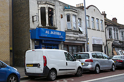 © Licensed to London News Pictures. 05/05/2019. London, UK. According to the locals, three men believed to be 23, 28 and 30, suffered gunshot wounds in the shooting just before 9 pm on Saturday 4 May 2019 outside Al Jaziira cafe  on Leyton High Road in East London. A 30 year old victim is in critical condition. Photo credit: Dinendra Haria/LNP