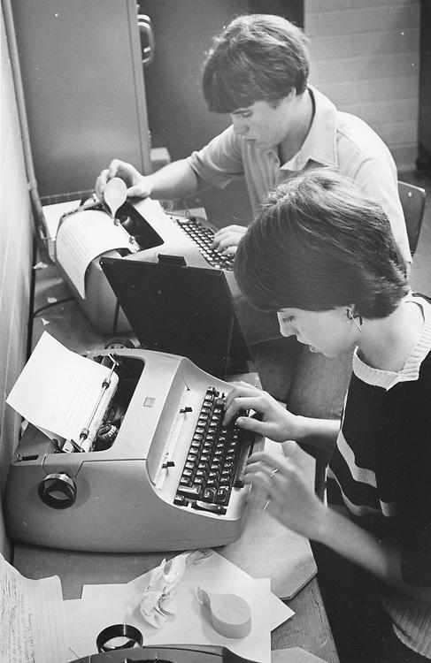 ©1980  High school journalism students writing stories on IBM Selectric typewriters.