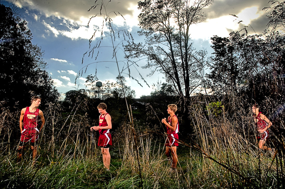 (staff photo by Matt Roth)..Hereford High School's top boys cross country runners are (L-R) senior John Riemer, junior Ben Bemis, junior Mason Rivera, and senior Chris Leininger. They are photographed along the school's infamous Bull Run route Wednesday, October 7, 2009.