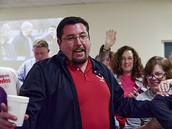 April 4, 2017 - Ferguson, Missouri, USA - Ferguson Mayor JAMES KNOWLES is surrounded by happy supporters after the announcement of his re-election. (Credit Image: © Steve Pellegrino via ZUMA Wire)