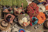 Aerial photo of flower sellers plying their wares at City Market, Bangalore, India