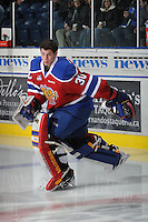 KELOWNA, CANADA - FEBRUARY 15:  Tristan Jarry #30 of the Edmonton OIl Kings skates onto the ice against the Kelowna Rockets on February 15, 2012 at Prospera Place in Kelowna, British Columbia, Canada (Photo by Marissa Baecker/Getty Images) *** Local Caption *** Tristan Jarry;
