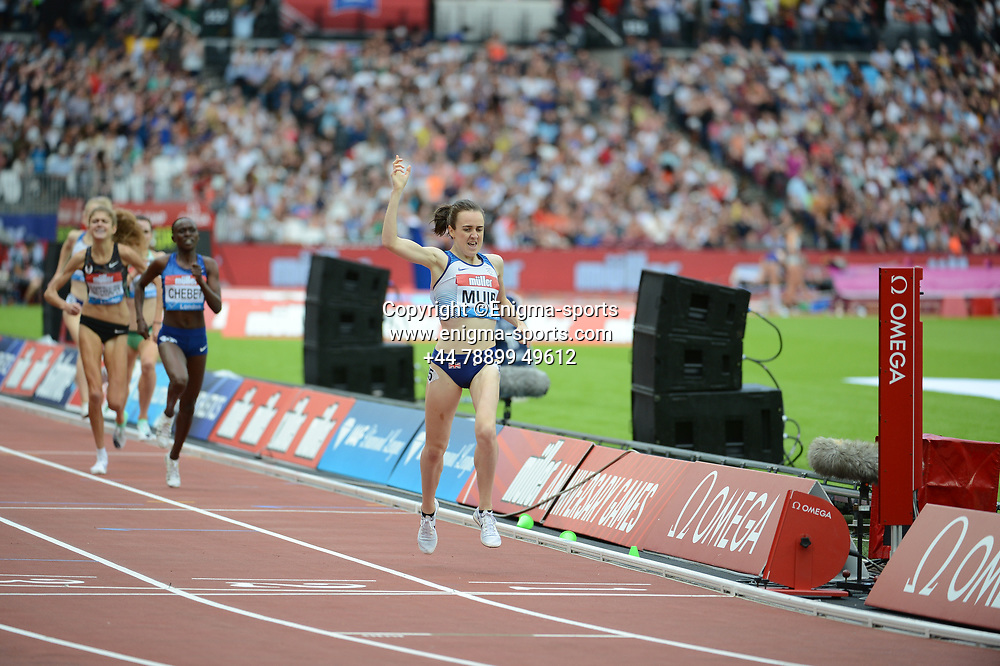 Laura Muir competes in the women's 1500m during the IAAF Diamond League at the Queen Elizabeth Olympic Park London, England on 20 July 2019.