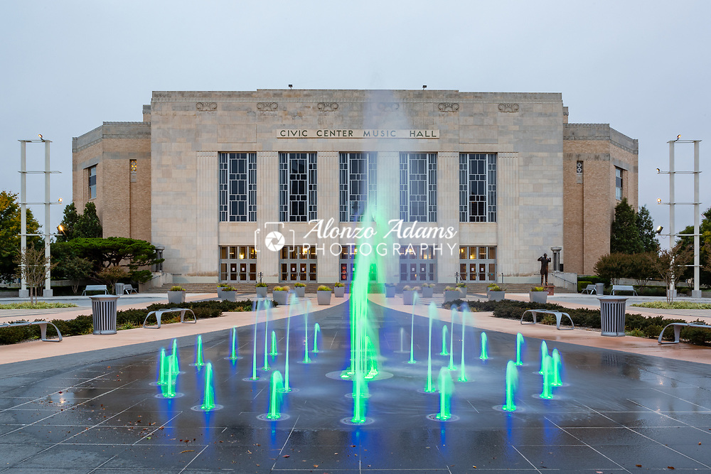 Civic Center Music Hall and fountain in downtown Oklahoma City on October 28, 2013. Photo copyright © 2013 Alonzo Adams.