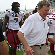 South Carolina Gamecocks defensive end Jadeveon Clowney (7) and Head Coach Steve Spurrier leave the field after an NCAA football game between the South Carolina Gamecocks and the Central Florida Knights at Bright House Networks Stadium on Saturday, September 28, 2013 in Orlando, Florida. (AP Photo/Alex Menendez)