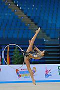 Hayakawa Sakura during qualifying at hoop in Pesaro World Cup 10 April 2015. Sakura is a Japan rhythmic gymnastics athlete born March 17, 1997 in Osaka, Japan. She appeared in Senior competitions in the 2013 season.