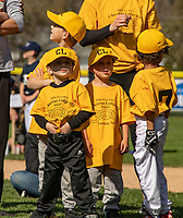 """Ready to """"play ball"""" members of the Chocorua Lodge Instructional team at Laconia Little League's Opening Day ceremonies at Colby Field.  ©2021 Karen Bobotas Photographer"""