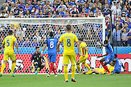 Romania Forward Florin Andone shoots at goal during the Group A Euro 2016 match between France and Romania at the Stade de France, Saint-Denis, Paris, France on 10 June 2016. Photo by Phil Duncan.