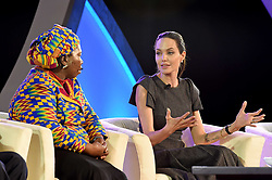 June 12, 2015 - Johannesburg, South Africa - Hollywood actress ANGELINA JOLIE  (R) speaks with African Union (AU) Commission Chairwoman NKOSAZANA DLAMINI-ZUMA at a panel discussion during the 25th AU Summit. Hollywood actress Angelina Jolie, acting in her capacity as the United Nations envoy on refugee issues, on Friday called for an end to violence against women. (Credit Image: © Jacoline Schoonees/Xinhua/ZUMA Wire)