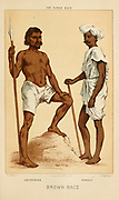 Abyssinian [Ethiopian] and Hindoo [Hindu] Hand painted engraving on wood From The human race by Figuier, Louis, (1819-1894) Publication in 1872 Publisher: New York, Appleton