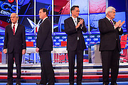"22 FEBRUARY 2012 - MESA, AZ:      Congressman RON PAUL (left) Senator RICK SANTORUM, Governor MITT ROMNEY and Congressman NEWT GINGRICH at the Arizona Republican Presidential Debate in the Mesa Arts Center in Mesa, AZ, Wednesday. It is the last debate before the Michigan and Arizona Republican primaries on Feb. 28 and ""Super Tuesday"" on March 6.     PHOTO BY JACK KURTZ"