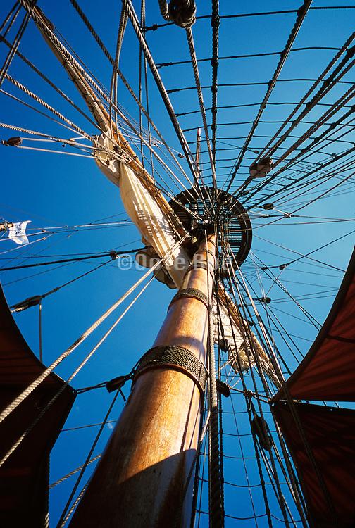 The mast of an old sailboat at an upward angle