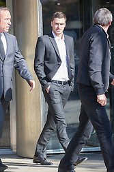 © Licensed to London News Pictures. 02/10/2015. ENGLAND footballer Adam Johnson at Bradford court today on child sex charges. The 28-year-old Sunderland winger is set to attend Bradford Crown Court for a pre-trial review. He has previously denied three counts of sexual activity with a child and one count of grooming.<br /> Photo credit: Andrew McCaren/LNP