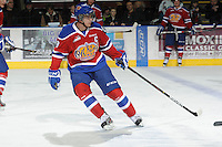 KELOWNA, CANADA, FEBRUARY 15: Mark Pysyk #3 of the Edmonton OIl Kings skates on the ice during warm up at the Kelowna Rockets on February 15, 2012 at Prospera Place in Kelowna, British Columbia, Canada (Photo by Marissa Baecker/Shoot the Breeze) *** Local Caption ***