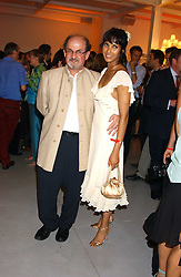 SALMAN RUSHDIE and PADMA LAKSHMI at a party to celebrate the publication of 'Shalimar The Clown' by Salman Rushdie, held at the David Gill Galleries, 3 Loughborough Street, London SE11 on 7th September 2005.<br />
