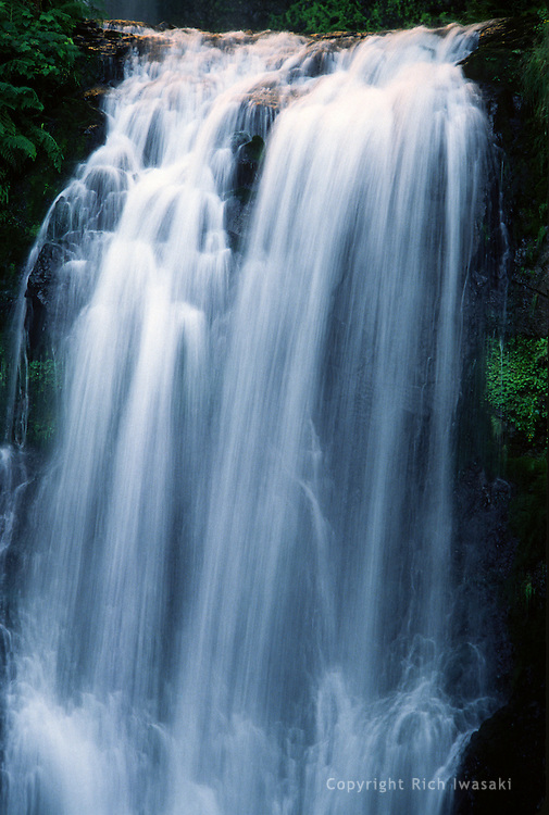 Detail view of the lower section of Multnomah Falls, Columbia River Gorge National Scenic Area, Oregon.  Multnomah Falls is the second tallest year-round waterfall in the United States, and the tallest  in Oregon.
