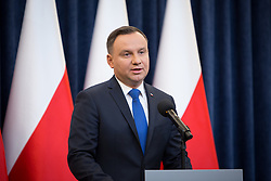 February 6, 2018 - Warsaw, Poland - Polish President Andrzej Duda announces his decision to sign a legislation penalizing certain statements about the Holocaust, at Presidential Palace in Warsaw, Poland on 6 February 2018  (Credit Image: © Mateusz Wlodarczyk/NurPhoto via ZUMA Press)
