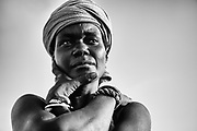 A black and white portrait of a Rendille tribe girl wearing a turban, Lake Turkana, Loiyangalani,Kenya, Africa