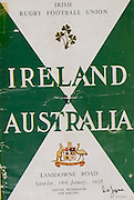 Irish Rugby Football Union, Ireland v Australia, Tour Match, Landsdowne Road, Dublin, Ireland, Saturday 18th January, 1958,.18.1.1958, 1.18.1958,..Referee- W J Evans, Welsh Rugby Union, ..Score- Ireland 9 - 6 Australia, ..Irish Team, ..P J Berkery, Wearing number 15 Irish jersey, Full back, Landsdowne Rugby Football Club, Dublin, Ireland, and, London Irish Rugby Football Club, Surrey, England, ..A J F O'Reilly, Wearing number 14 Irish jersey, Right Wing, Old Belvedere Rugby Football Club, Dublin, Ireland, ..N J Henderson, Wearing number 13 Irish jersey, Captain of the Irish team, Right centre, N.I.F.C, Rugby Football Club, Belfast, Northern Ireland, ..D Hewitt, Wearing number 12 Irish jersey, Left centre, Queens University Rugby Football Club, Belfast, Northern Ireland,. .A C Pedlow, Wearing number 11 Irish jersey, Left wing, C I Y M S Rugby Football Club, Belfast, Northern Ireland, ..J W Kyle, Wearing number 10 Irish jersey, Stand Off, N.I.F.C, Rugby Football Club, Belfast, Northern Ireland, ..A A Mulligan, Wearing number 9 Irish jersey, Scrum Half, Cambridge University Rugby Football Club, Cambridge, England, and, London Irish Rugby Football Club, Surrey, England, ..B G M Wood, Wearing number 1 Irish jersey, Forward, Garryowen Rugby Football Club, Limerick, Ireland, ..R Dawson, Wearing number 2 Irish jersey, Forward, Wanderers Rugby Football Club, Dublin, Ireland, ..P J O'Donoghue, Wearing  Number 3 Irish jersey, Forward, Bective Rangers Rugby Football Club, Dublin, Ireland,  ..W A Mulcahy, Wearing number 4 Irish jersey, Forward, University College Dublin Rugby Football Club, Dublin, Ireland,..J B Stevenson, Wearing number 5 Irish jersey, Forward, Instonians Rugby Football Club, Belfast, Northern Ireland,..J A Donaldson, Wearing number 6 Irish jersey, Forward, Collegians Rugby Football Club, Belfast, Northern Ireland,..J R Kavanagh, Wearing number 7 Irish jersey, Forward, Wanderers Rugby Football Club, Dublin, Ireland, ..N Murphy, Wearing number 8 Irish jersey, Fo