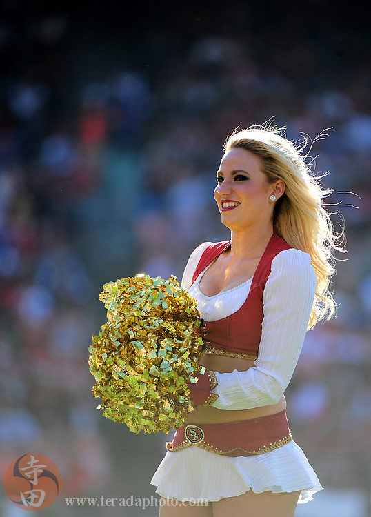 August 22, 2010; San Francisco, CA, USA; San Francisco 49ers cheerleader performs during the second quarter against the Minnesota Vikings at Candlestick Park. The 49ers defeated the Vikings 15-10. Mandatory Credit: Kyle Terada-Terada Photo