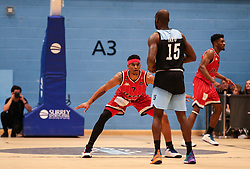Justin Gray of Bristol Flyers on the defence - Photo mandatory by-line: Arron Gent/JMP - 28/04/2019 - BASKETBALL - Surrey Sports Park - Guildford, England - Surrey Scorchers v Bristol Flyers - British Basketball League Championship