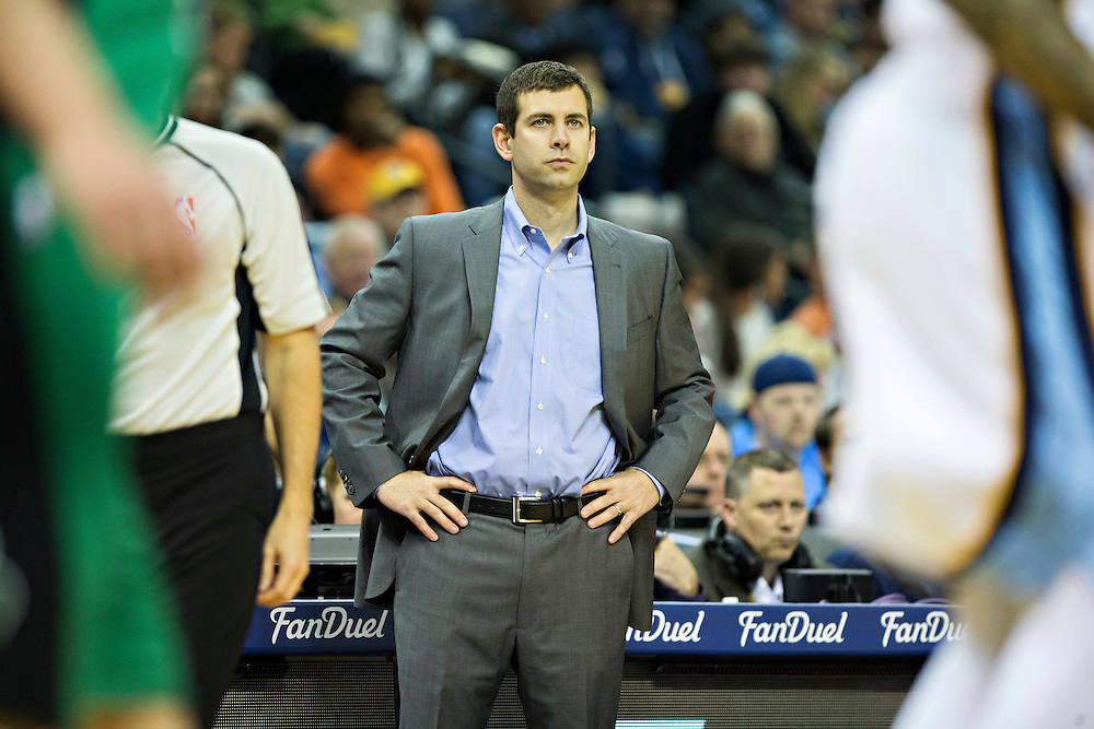 MEMPHIS, TN - JANUARY 10:  Head Coach Brad Stevens of the Boston Celtics watches his team during a game against the Memphis Grizzles at the FedExForum on January 10, 2016 in Memphis, Tennessee.  The Grizzlies defeated the Celtics 101-98.  NOTE TO USER: User expressly acknowledges and agrees that, by downloading and or using this photograph, User is consenting to the terms and conditions of the Getty Images License Agreement.  (Photo by Wesley Hitt/Getty Images) *** Local Caption *** Brad Stevens