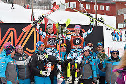 10.03.2017, Are, SWE, FIS Ski Alpin Junioren WM, Are 2017, Super G, Damen, im Bild Nadine Fest and Franziska Gritsch (AUT) // during ladie's SuperG of the FIS Junior World Ski Championships 2017. Are, Sweden on 2017/03/10. EXPA Pictures © 2017, PhotoCredit: EXPA/ Nisse<br /> <br /> *****ATTENTION - OUT of SWE*****