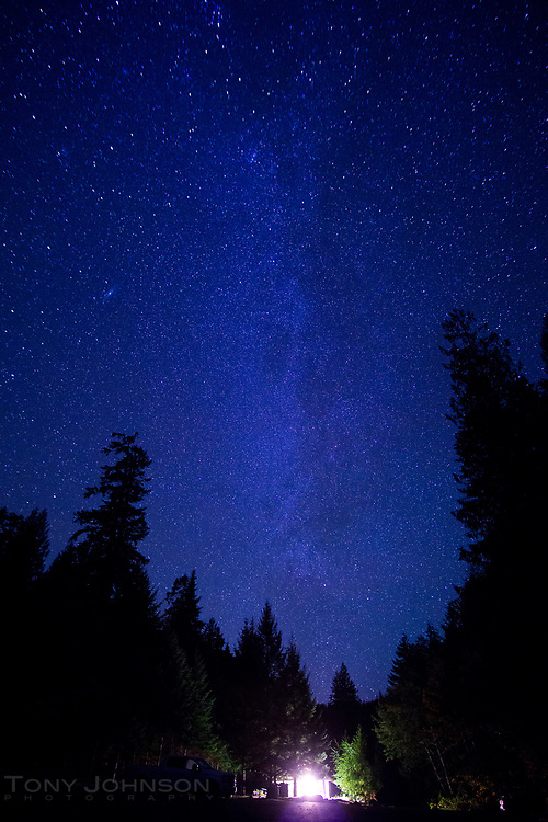 hint of the Milky Way  over the entrance to Colonial Creek Campground, North Cascades National Park