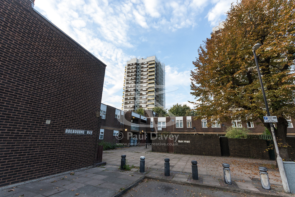 MAIL-ON_SUNDAY Westland House towerblock on the North Woolwich estate in East London where Reggie Nelson grew Up. North Woolwich, London, October 05 2018.