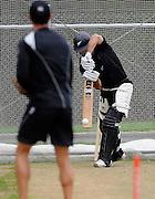 Dean Brownlie bats in the nets, Black Caps Training Session, at the University oval, Dunedin, New Zealand. Thursday 2 February 2012 . Photo: Richard Hood photosport.co.nz