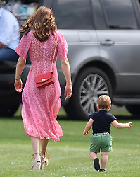 The Cambridge and Sussex families watch as Prince William and Prince Harry take part in the King Power Royal Charity Polo Day for the Khun Vichai Srivaddhanaprabha Memorial Polo Trophy at Billingbear Polo Club, Binfield, Berkshire, UK on the 10th July 2019. 10 Jul 2019 Pictured: Catherine, Duchess of Cambridge, Kate Middleton, Prince Louis. Photo credit: James Whatling / MEGA TheMegaAgency.com +1 888 505 6342